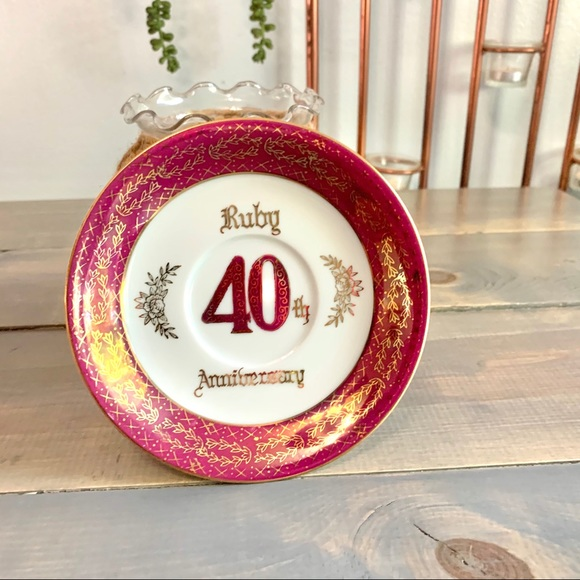 Vintage Other - Vtg 40th Ruby Anniversary Collectible Plate AB-422